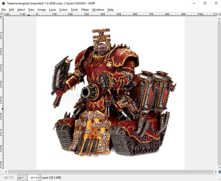 GIMP, GIMP Tutorial: Put The Overlord's Head On A Daemon Engine