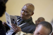 Police minister, Bheki Cele at the funeral of Sam Meyiwa, father of slain Bafana Bafana captain Senzo Meyiwa.