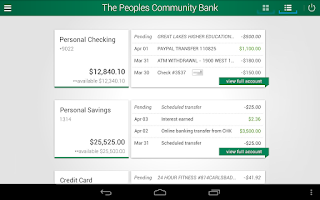 Screenshot of The Peoples Community Bank