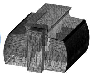 Геометрия (сверху) и сетка (ниже) для модели CFD МД-82 салона первого класса