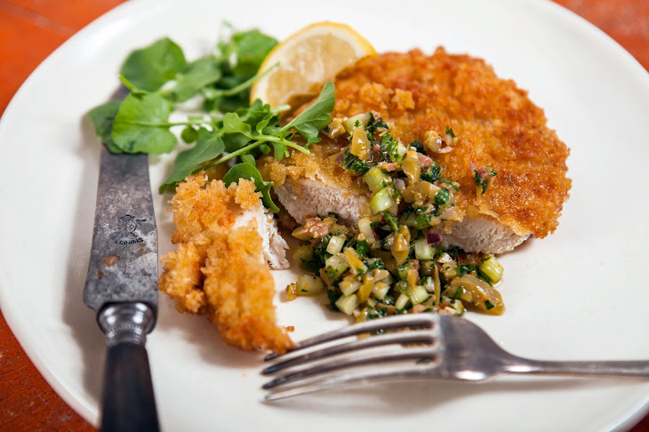 Chicken Breast Milanese With Green Olive-Celery Relish Recipe | Yummly