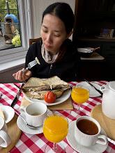Photo: Serene having kippers for breakfast