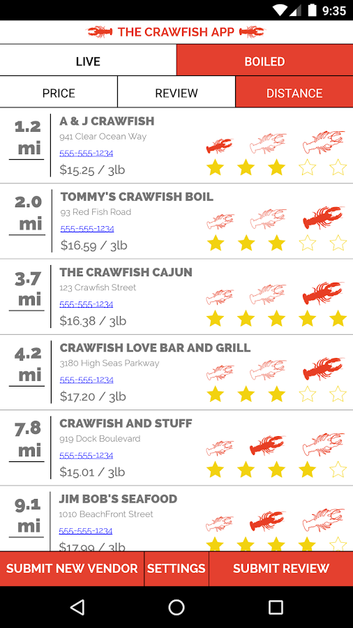 The Crawfish App- screenshot