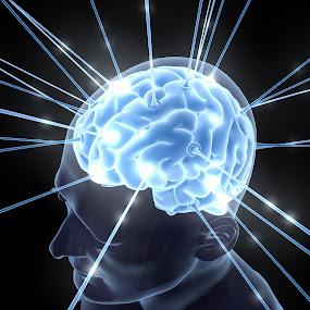 Head & Brain Electron Blue Energy by Emily Fnm3d - Print & Graphics All Print & Graphics ( idea, neurology, illustration, diagnosis, glow, creativity, science, anatomy, physiology, mind, brain, iq, cerebra, thoughts, genius, control center, creative, nervous system, metaphor, rods, memory, light effect, organ, inside, energy, cerebellum )