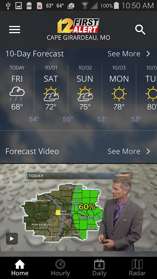 KFVS12 First Alert Weather- screenshot
