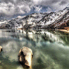 Tsongmo Lake by Gourab Mitra - Landscapes Mountains & Hills ( changu, reflection, mountain, lake, sikkim, river )