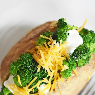Diabetes Friendly Broccoli & Cheese Stuffed Potato and Shake.
