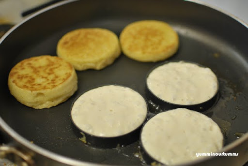 crumpets cooked frying pan