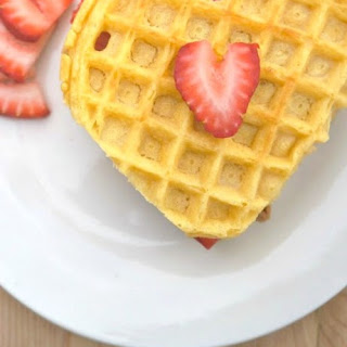 Strawberry Cookie Butter Heart Waffles.