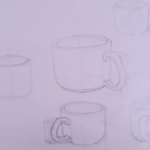 Picture of a drawing of cups, rims and handles