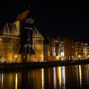 Gdansk  by Rune Nilssen - City,  Street & Park  Night ( middelage, gdansk, fuji, night, crane, x100,  )
