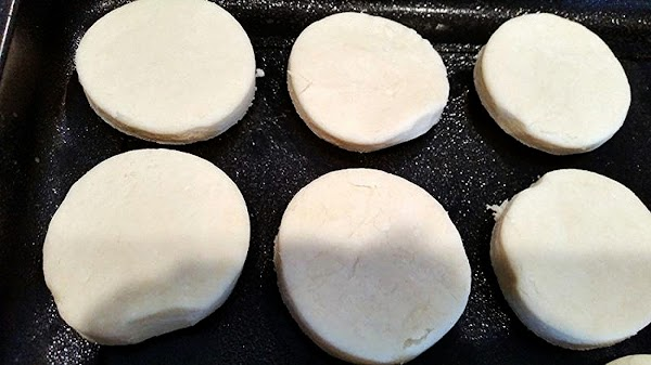 Roll biscuits to about 1/2 inch thickness. I use a 3 inch biscuit cutter....