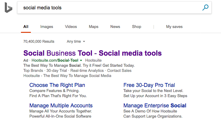 Hootsuite Bing ads example