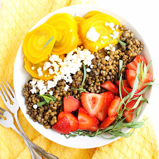Golden Beet And Lentil Salad With Strawberries