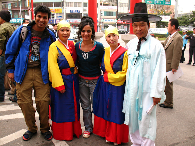 Dilek and I with some Koreans in traditional costumes