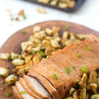 Mesquite Pork Loin with Parmesan Roasted Potatoes