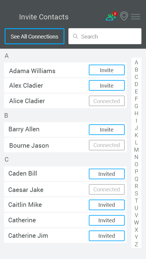 In Range Contacts- screenshot