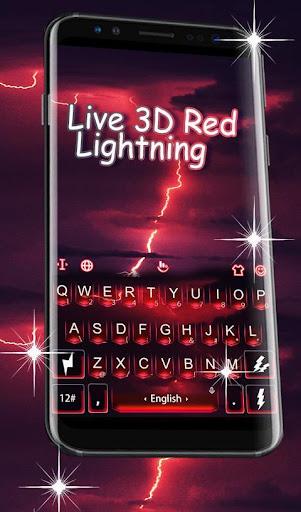 Live 3D Red Lightning Keyboard Theme 6.4.27.2019 screenshots 1