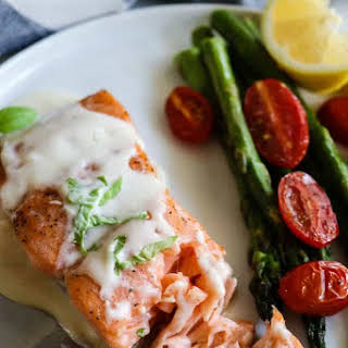 Baked Salmon with Parmesan Cream Sauce.