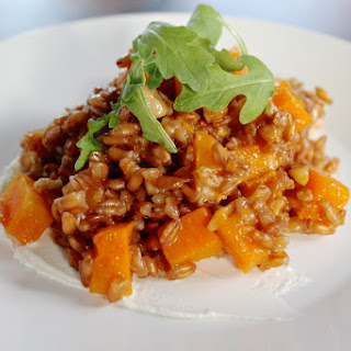 Farro Salad with Butternut Squash, Goat Cheese, Walnuts, and Arugula
