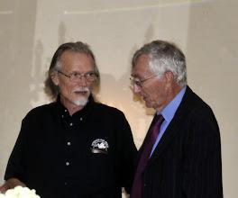 Photo: Doug Zachary tells Seymour Hersh that Le Ly Hayslip of Vietnam has bought him a lifetime membership to VFP