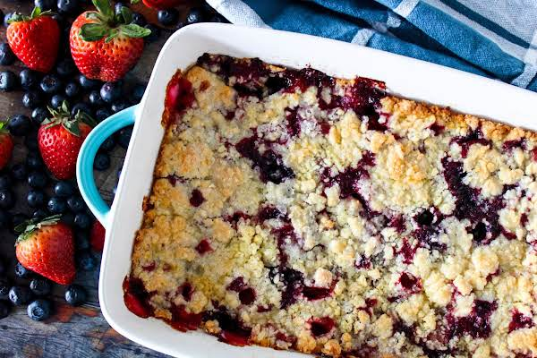 Jumbleberry Cobbler Ready To Be Sliced.
