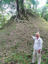 Photo: Yaxha temple (used for sacrifice) that is still to be excavated. I loved the trees living on the blood that was spilt here.