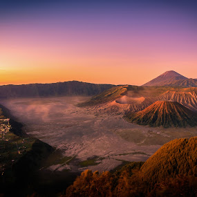 Mount Bromo volcano (Gunung Bromo) at sunrise with colorful sky  by Nuttawut Uttamaharach - Landscapes Mountains & Hills ( mountain, tengger, peak, volcanic, travel, landscape, panorama, attraction, adventure, volcano, sky, nature, gunung, indonesia, asia, batok, east, bromo, park, national, beautiful, journey, caldera, scenic, morning, smoke, destination, crater, mount, fog, sunset, penanjakan, active, java, view, sunrise, scenery, semeru, eruption, steam )