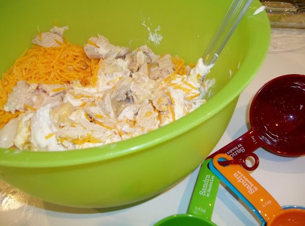 In large bowl, combine chicken chunks, sour cream, poultry seasoning and soup. Stir in...
