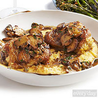 Truffle-Laced Chicken with Mushrooms, Polenta & Roasted Broccolini.