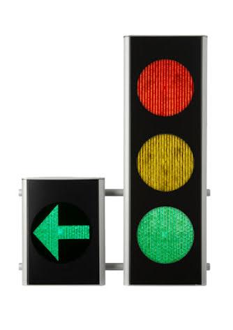 Green Light signal 200 mm 3-lys m. V-pil