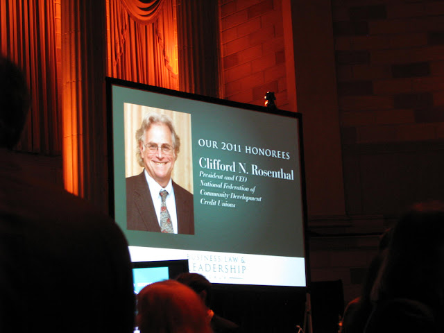 Photo of Federation President/CEO Cliff Rosenthal being honored by the Lawyers Alliance of New York.