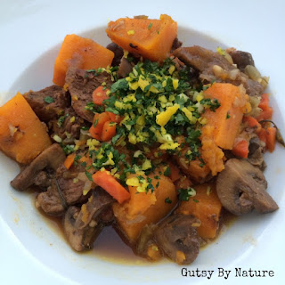 Cinnamon Beef Stew with Butternut Squash and Mushrooms
