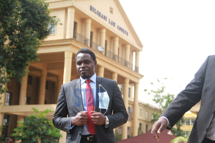LSK president Nelson Havi outside the Milimani law courts.