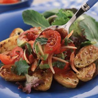 Coriander Potatoes with Tomato Avocado Salsa.