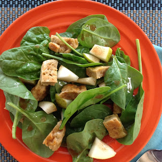 Seitan and Pear Salad with Cinnamon Vinaigrette