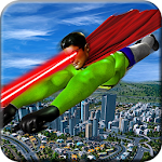 Eye Laser Superhero: Strange Flying Action Hero Icon