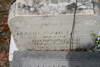 Photo: One Tombstone in back of another / Maud Mae Raulerson daughter of Noel Raulerson and Mary Ann Altman / Husband of Noah Walter Fish