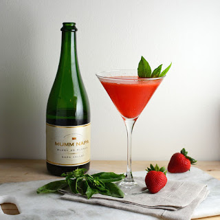 Strawberry Basil Champagne Cocktail.