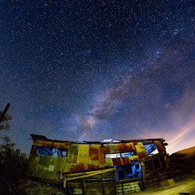 Broken Dreams  by Patrick Miyoshi - Landscapes Starscapes ( milkyway abandoned rusty shed nightscape slow shutter desert )