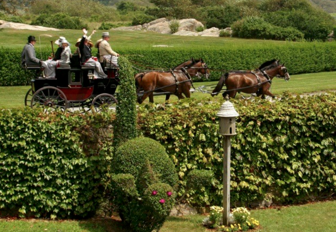 Newport, Rhode Island, as 19th century carriages, led by stately steeds, gallantly gather to herald Coaching Weekend in Newport.  From August 16th  to 19th, The Preservation Society of Newport County hosts members of the Carriage Association of American