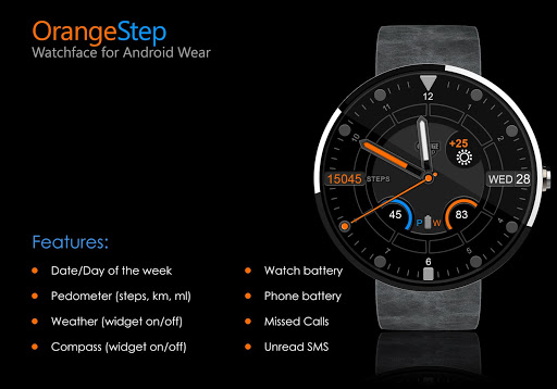 Orange Step Watch Face