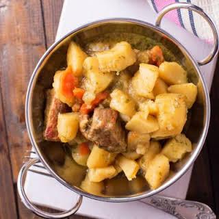 Easy Crockpot Beef and Potato Stew.