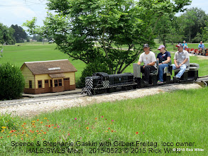 Photo: Spence & Stephanie Gaskin with Gilbert Freitag, loco owner.      HALS/SWLS Meet   2015-0523 © 2015 Rick White