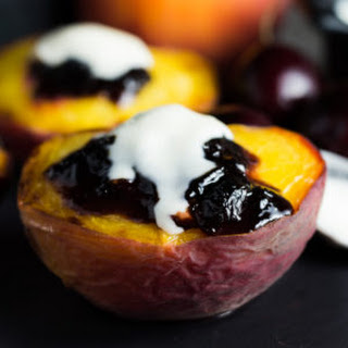 Broiled Peaches with Spiced Sour Cherry Spread