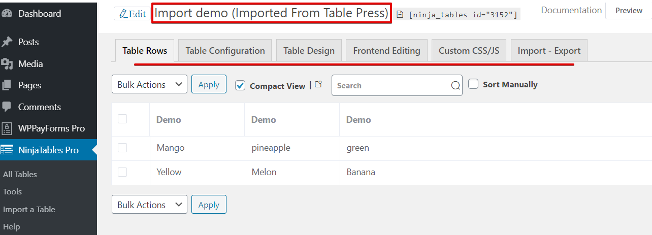 create a data table with imported files with Ninja Tables