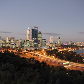 Perth City in the evening by Tamil Selvam - City,  Street & Park  Skylines ( skyline, perth, park, metropolis, set, leisure, king, sun, city, holiday, rise, australia, western, night, town, slow, evening )