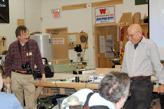 Photo: Program Chair Gary Guenther introduces member Michael Colella and his presentation on photographing your woodturning.