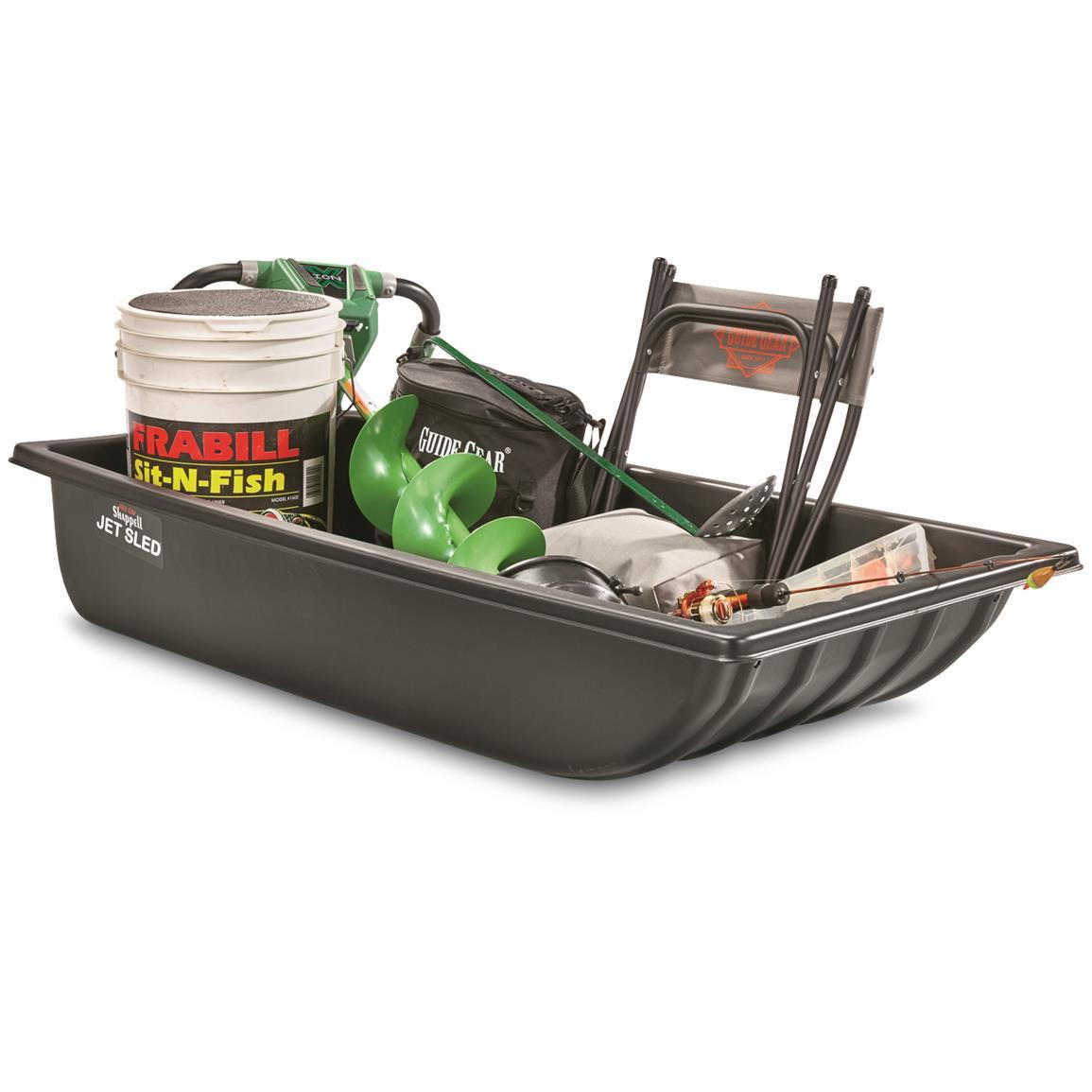 A sled to carry items when working in the cold