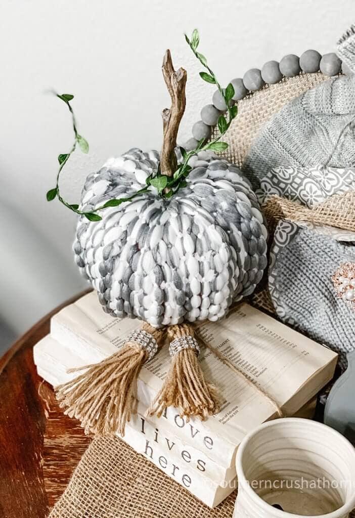 fall diy decor mophead pumpkin
